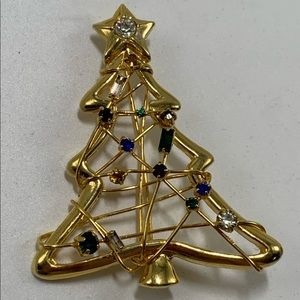 Christmas Tree Lights Brooch Wire Wrapped Sparkly